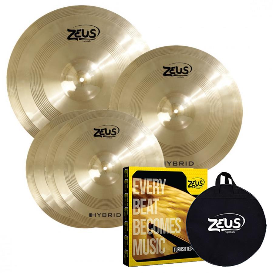 Zeus Kit de Pratos HYBRID SET-C (Liga B20, 14'' Hi-Hat, 16'' Crash e 20'' Ride)