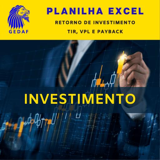 Planilha Excel Retorno de Investimento TIR, VPL e Payback
