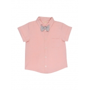 Camisa Com Gravata Borboleta Rosa