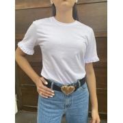 Camiseta Feminina Branca com Babado na Manga