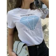 Camiseta Feminina Branca Diamante