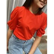Camiseta Feminina Vermelha Manga Bufante