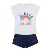 Conjunto Baby Look Arco Iris Mais Shorts Azul Marinho