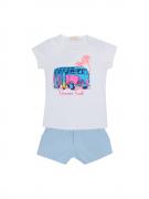 Conjunto Baby Look Kombi Mais Shorts Azul Bebê