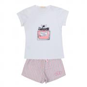 Conjunto Baby Look Perfume Mais Shorts Listrado