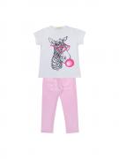Conjunto Baby Look Zebra Mais Legging Rosa