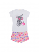 Conjunto Baby Look Zebra Mais Shorts Floral