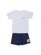 Conjunto Camisa Branca Mais Bermuda Azul Marinho