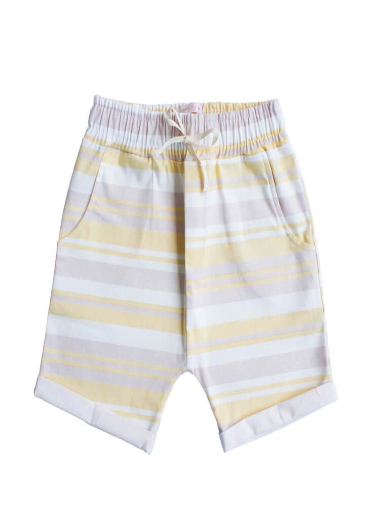 Bermuda Saruel Masculino Infantil Listrado Amarelo