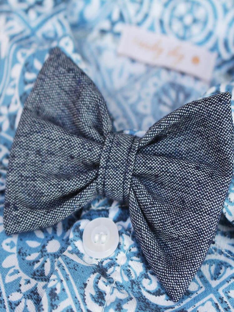 Camisa Com Gravata Borboleta Azul