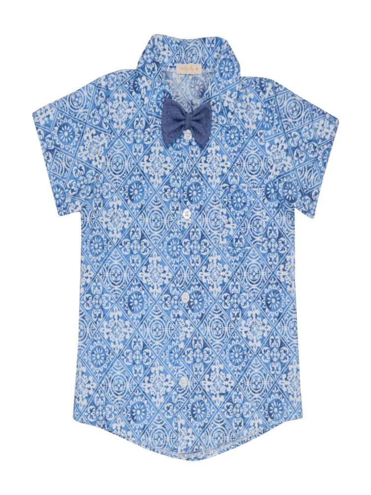 Camisa Com Gravata Borboleta Estampada Vintage