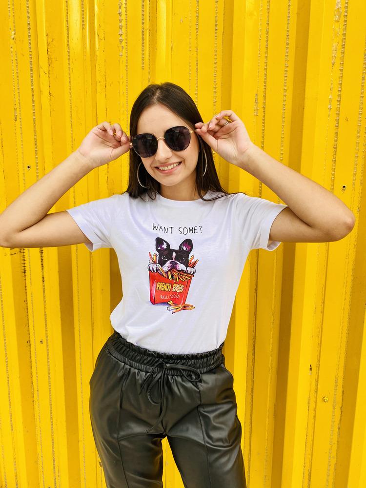 Camiseta Feminina Branca Dog