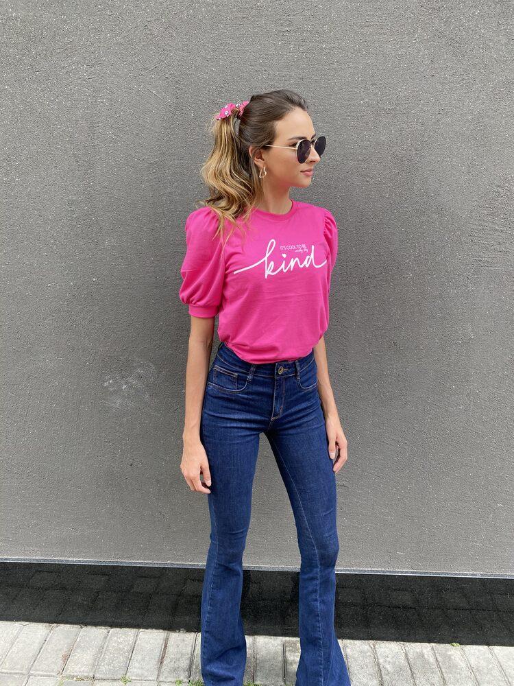 Camiseta Feminina Pink Manga Bufante Est. Kind