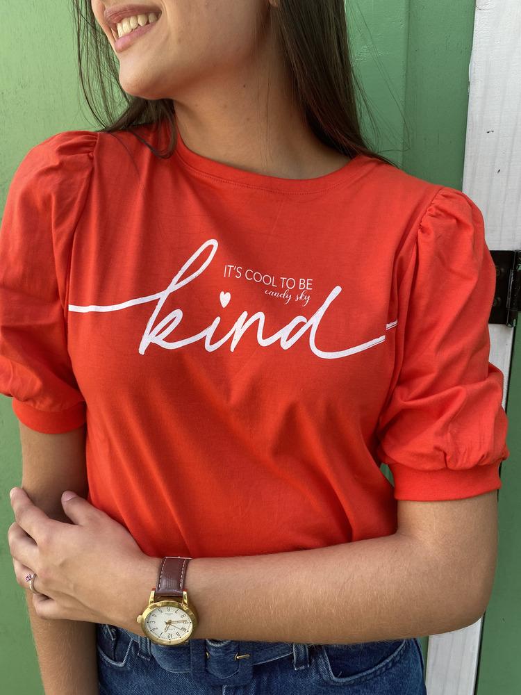 Camiseta Feminina Vermelha Manga Bufante Est. Kind