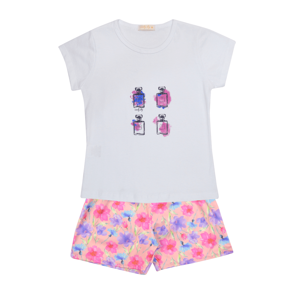 Conjunto Baby Look Perfumes Mais Shorts Floral