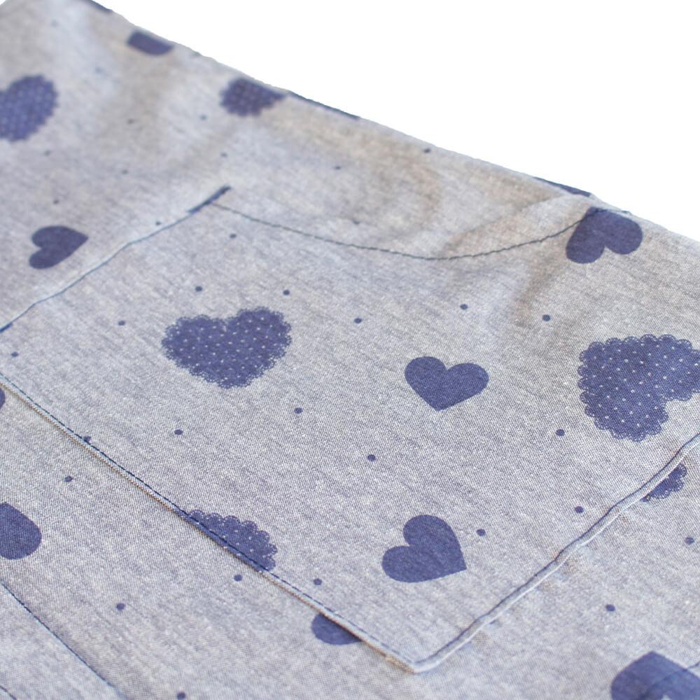 Salopete  Estampa Coração Azul