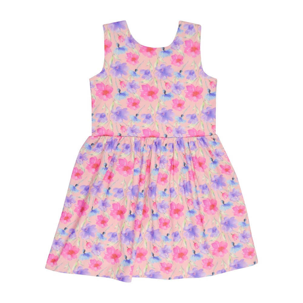 Vestido Infantil Curto Rosa Floral