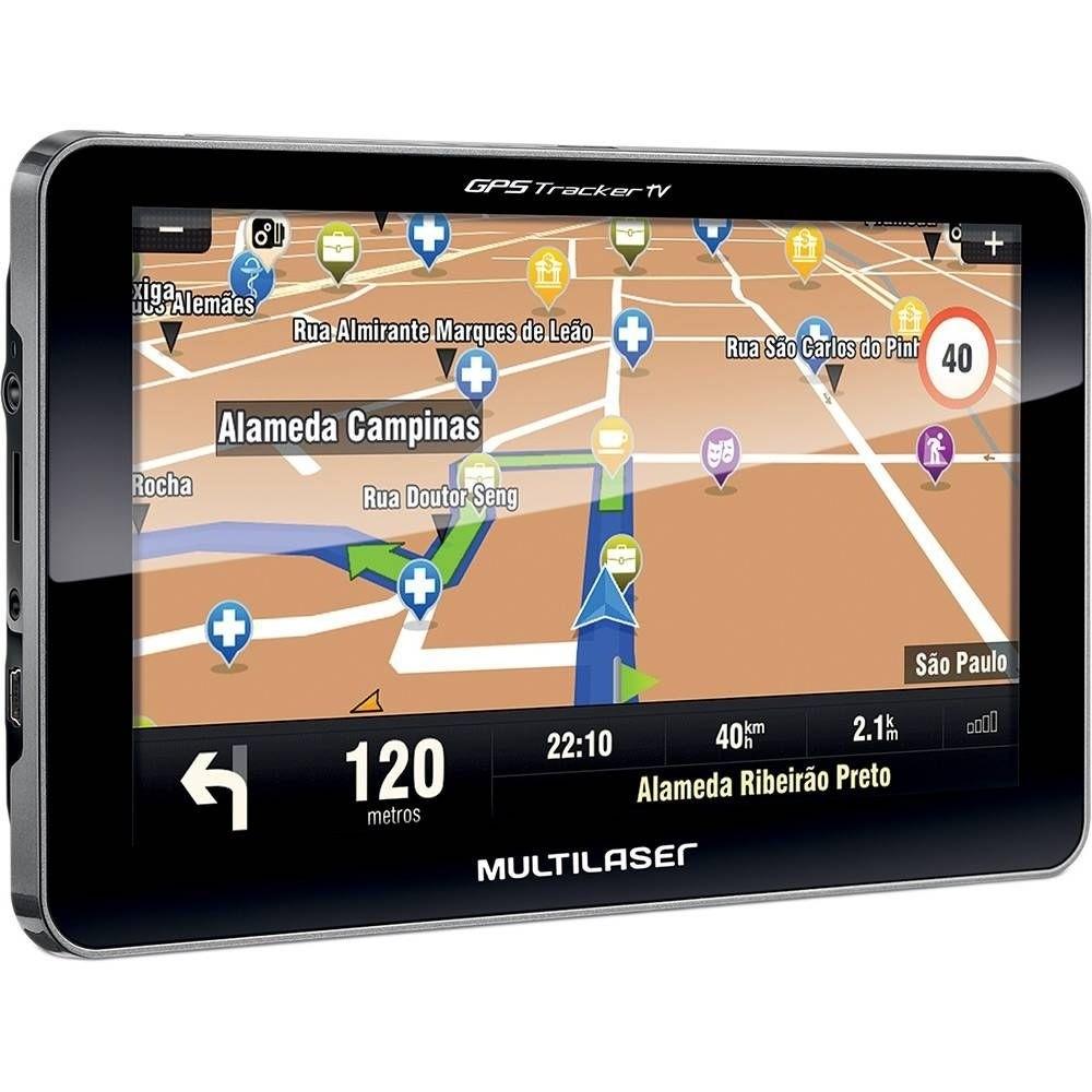 GPS Multilaser Tracker III com TV Digital e FM Tela Touch Screen de 7.0