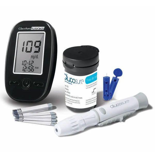 Kit Medidor de Glicemia Glucosure Com Estojo Preto Multilaser HC129