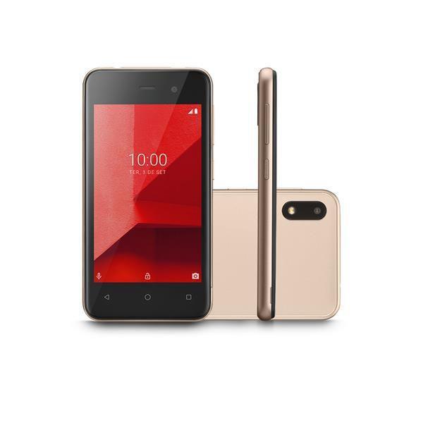 Smartphone E Lite 32GB Dourado Tela 4.0 Pol. 3G Quad Core Camera traseira 5MP + 5MP frontal P9127 - Multilaser
