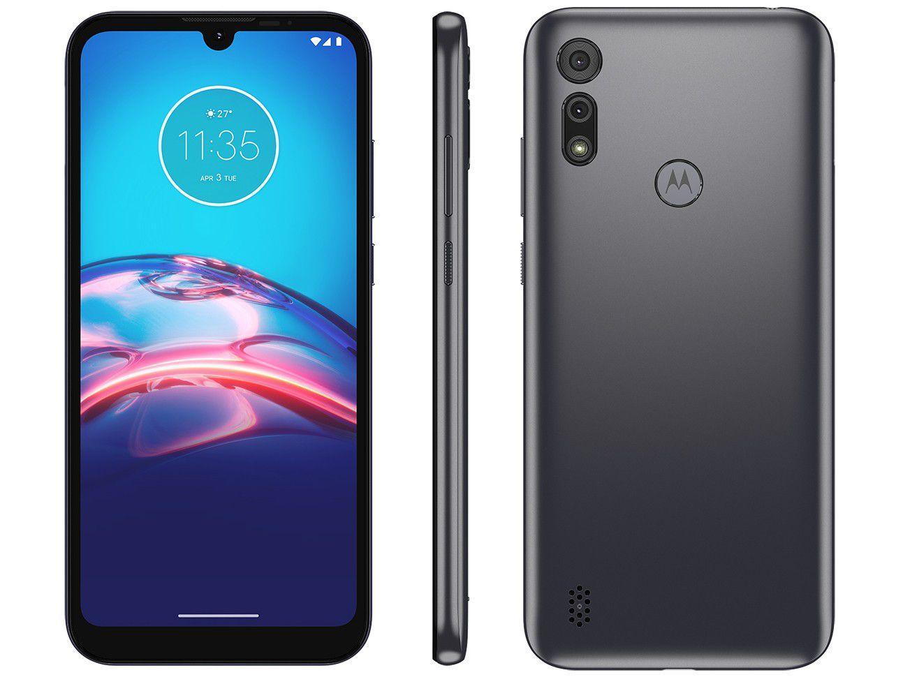 "Smartphone Motorola Moto E6S 32GB Cinza Titanium - 4G Octa-Core 2GB RAM 6,1"" Câm. Dupla + Selfie 5MP"