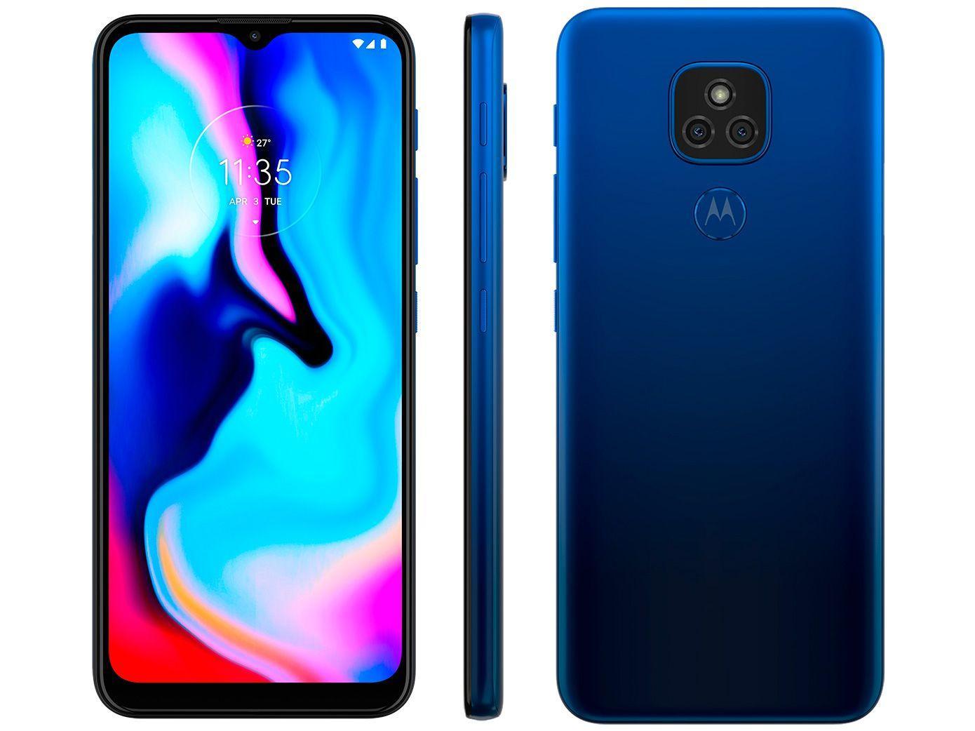 "Smartphone Motorola Moto E7 Plus 64GB Azul Navy - 4G Octa-Core 4GB RAM 6,5"" Câm. Dupla + Selfie 8MP"