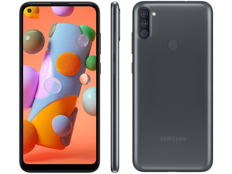 "Smartphone Samsung Galaxy A11 64GB Preto 4G - Octa-Core 3GB RAM 6,4"" Câm. Tripla + Selfie 8MP"