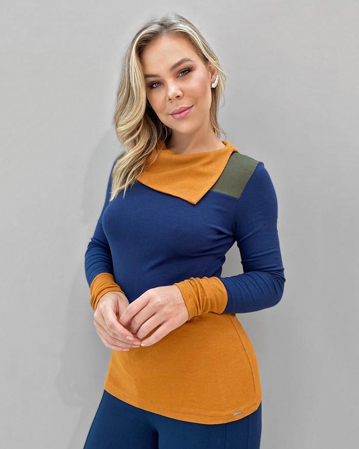 Blusa Malha Canelada Tricolor