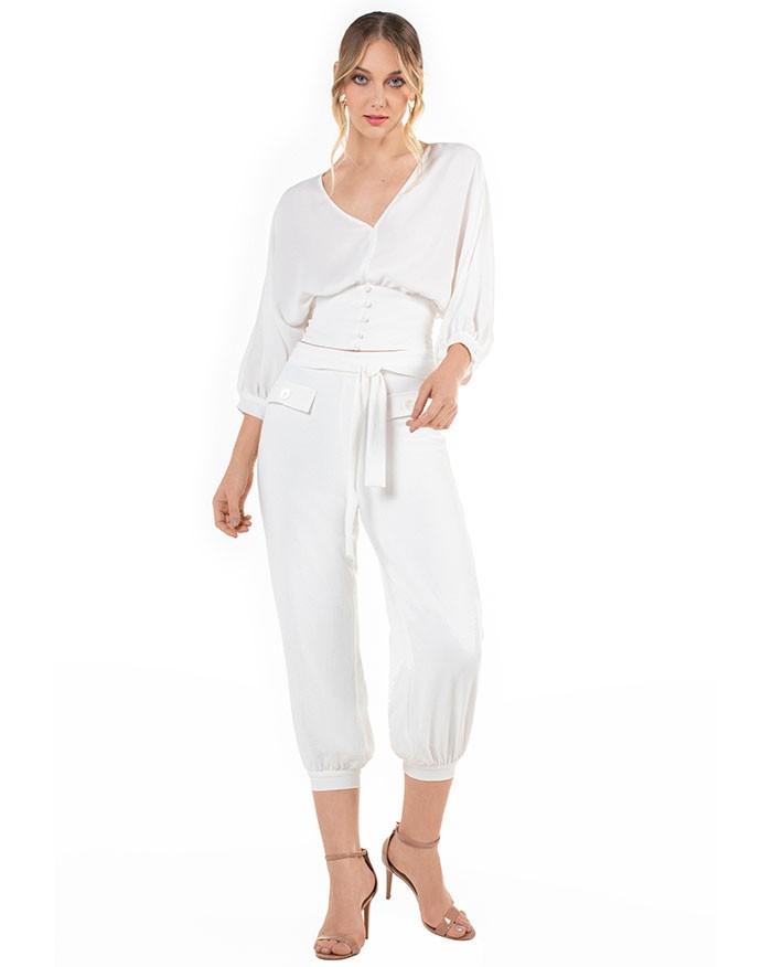 Calça Richini Cropped com Punho Branco