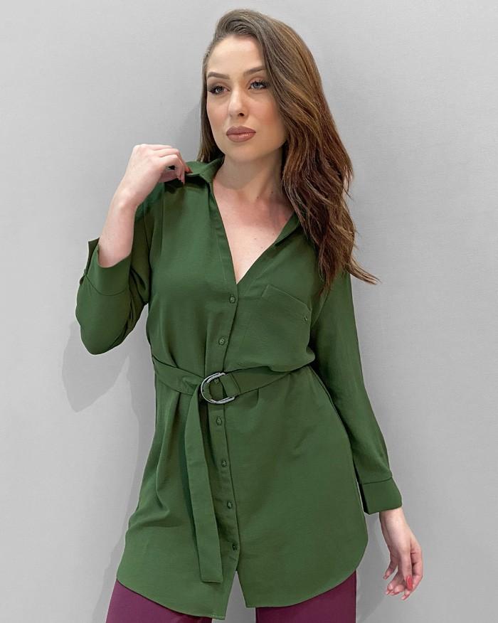 Camisa Richini Alongada Cinto com Fivela