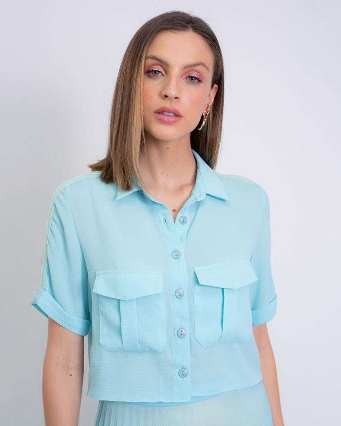 Camisa Richini Cropped Ribana Ombro