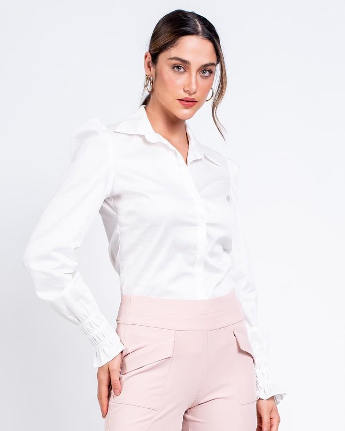 Camisa Richini Tricoline com Punho Franzido