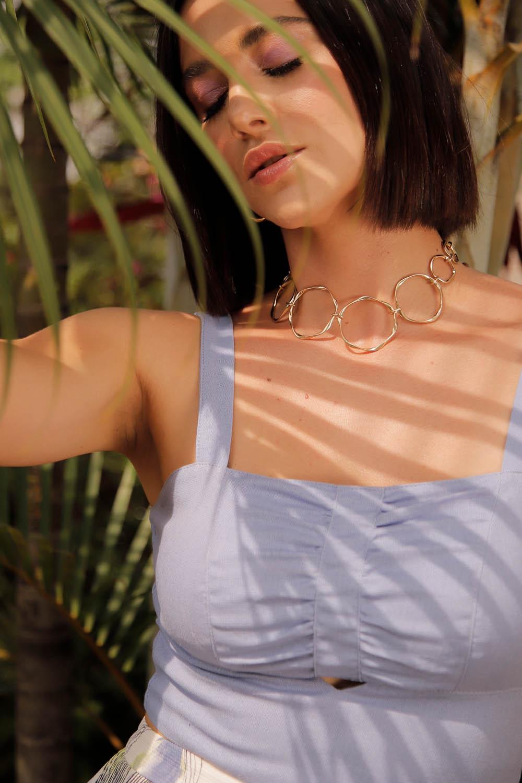 Top Cropped Richini Linho Decote Franzido