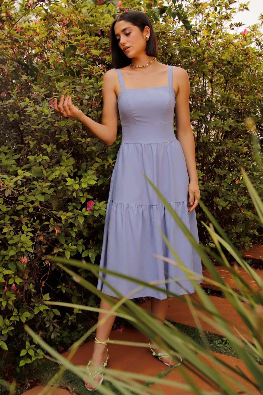Vestido Richini Midi Linho Lastex