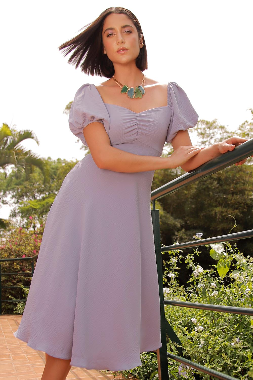 Vestido Richini Midi Manga Bufante
