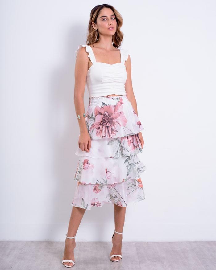 Saia Richini Babados Floral