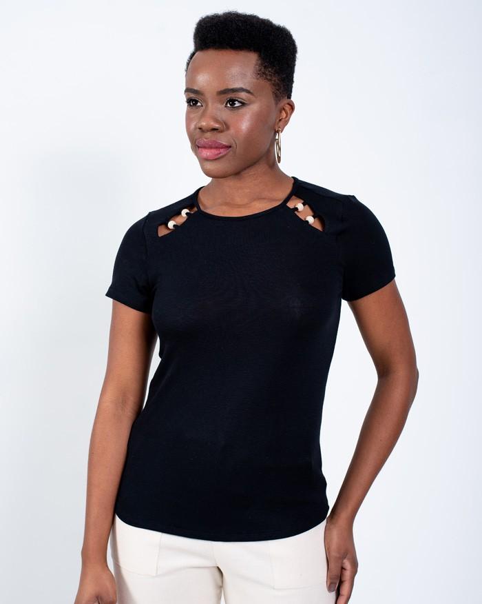 T-shirt Richini Detalhe com Esfera Resinada