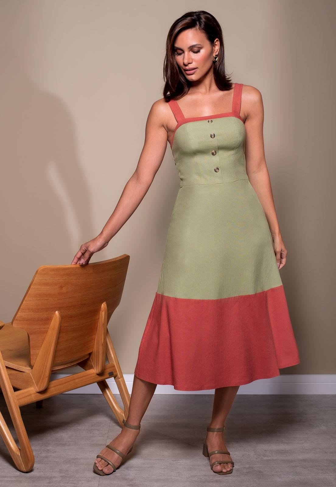 Vestido Richini Linho Bloco de Cor