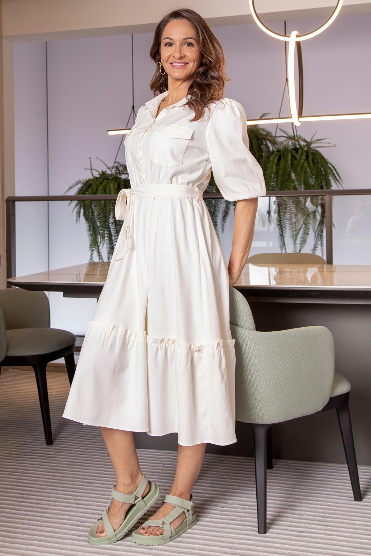 Vestido Richini Linho Midi Evasê com Faixa