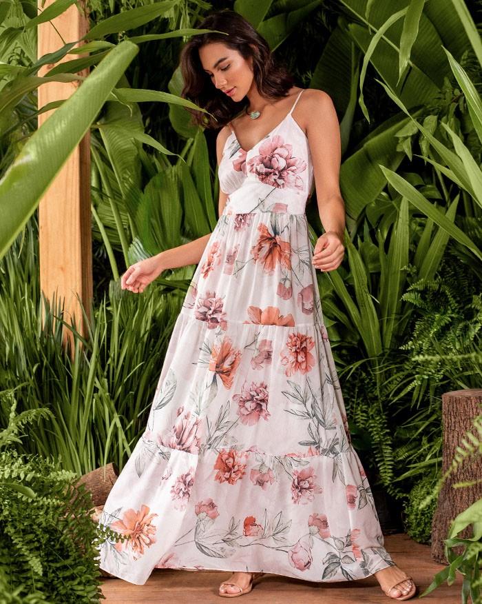 Vestido Richini Longo Floral Alças