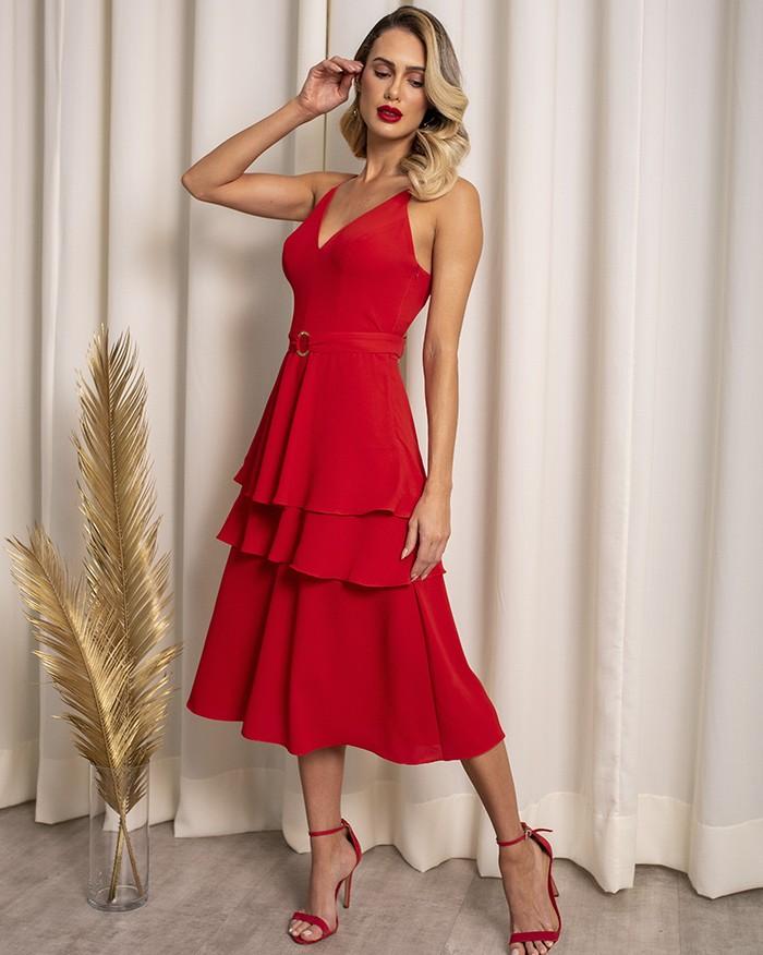 Vestido Richini Midi Camadas com Fivela