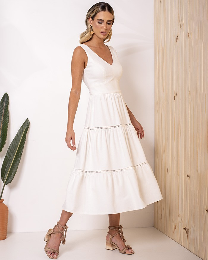 Vestido Richini Midi Linho com Detalhe em Guipir