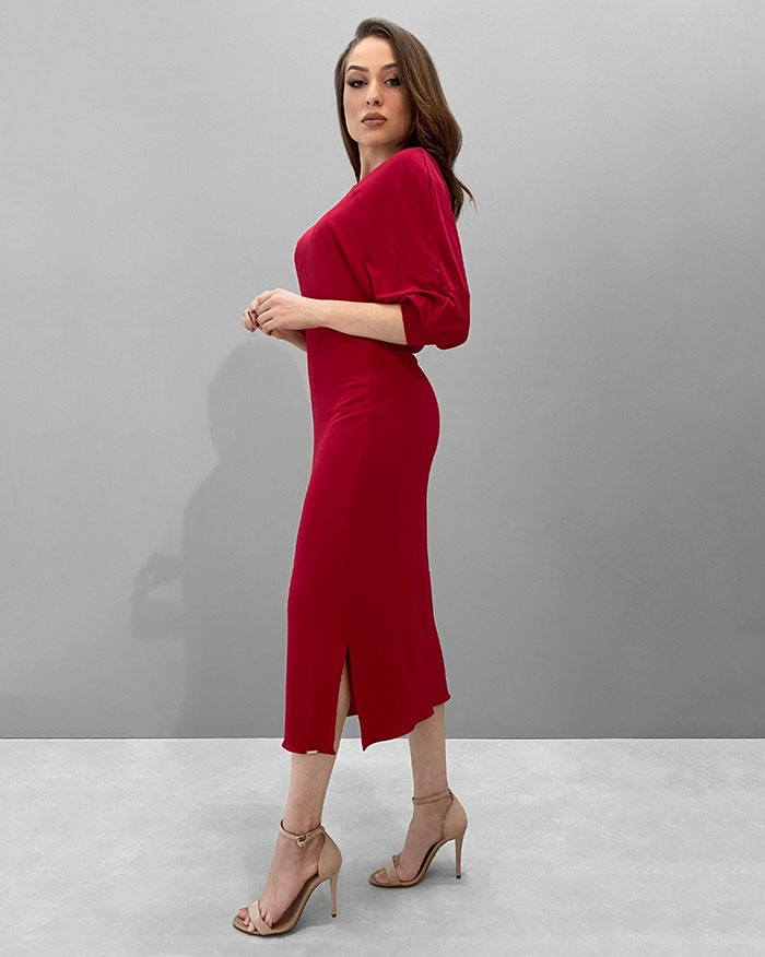 Vestido Richini Midi Malha Decote Degagê