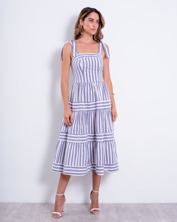 Vestido Richini Midi Tricoline Listrado