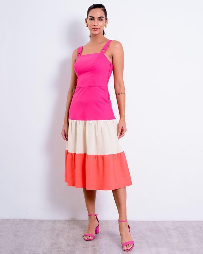 Vestido Richini Midi Tricolor