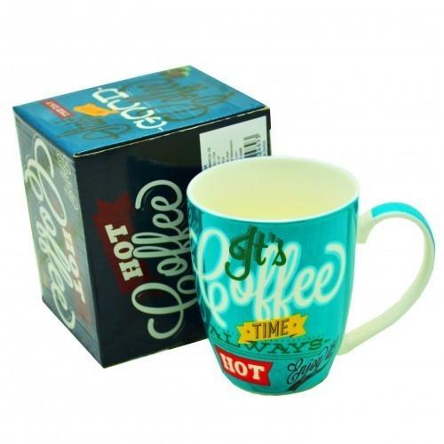 Caneca Decorada Louça Coffe Hot Caixa Presente Brilho