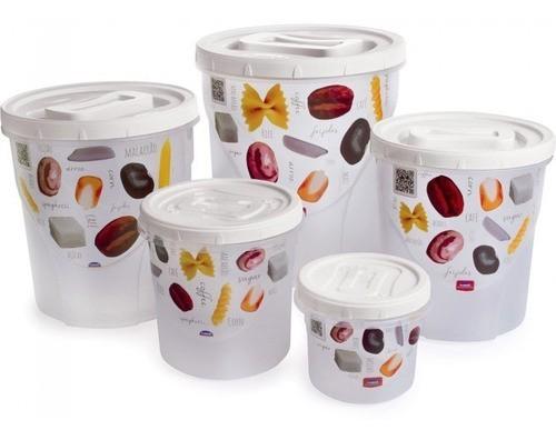 Conjunto Potes Mantimento Plástico 5pçs Decorado Plasútil