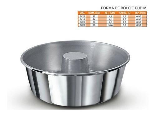 Forma Aluminio Pudim/Bolo 26 Real