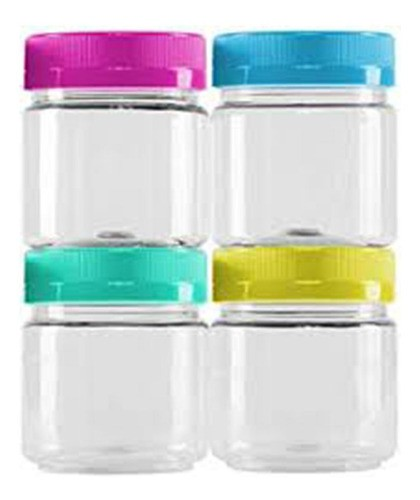 Jogo De Mini Pote Plastico 4 Pcs Redondo Com Tampa Colors Ba
