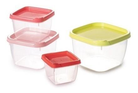 Jogo De Potes Plástico 4pçs Quadrado Conect Plasútil
